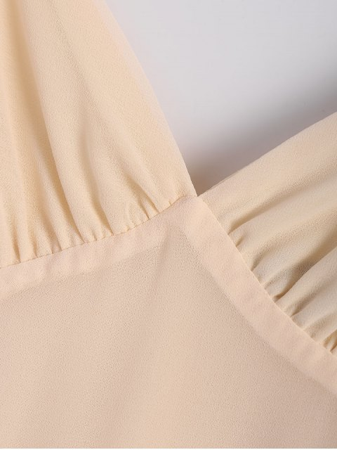 shops Solid Color Flounce Short Sleeve Chiffon Dress - APRICOT S Mobile