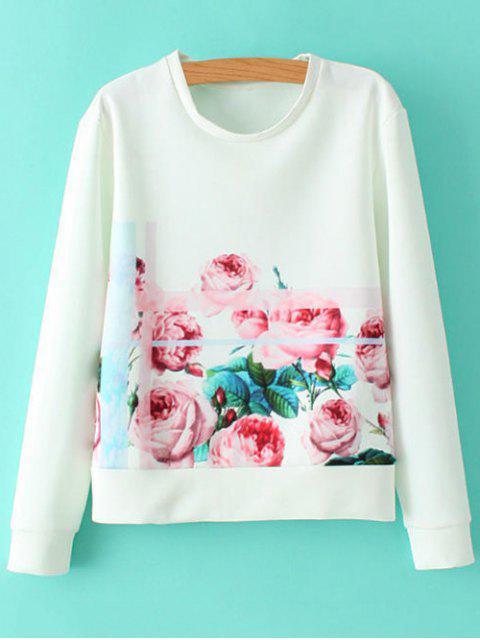Round Neck Sweatshirt Floral - Blanc S Mobile