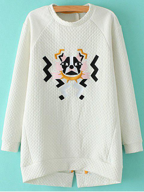 buy Cartoon Embroidered Stand Neck Sweatshirt - WHITE M Mobile