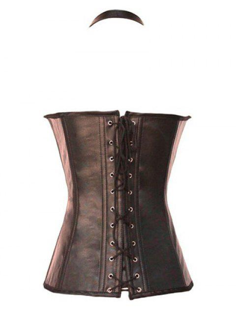 trendy Gothic Lace Up Halter Latex Corset - COFFEE XL Mobile