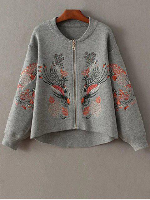 affordable Embroidered Zipped Cardigan - GRAY ONE SIZE Mobile
