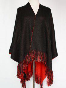 Long Tassel Two-Sided Pashmina - Red With Black