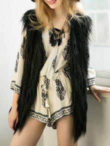 Thicken Solid Color Long Faux Fur Waistcoat - Black 3xl
