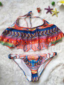 Ethnic Print Halter Ruffles Bikini Set - L