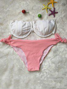 Rosa Y Blanco Sin Tirantes Del Bikini Set - Rosa Y Blanco S