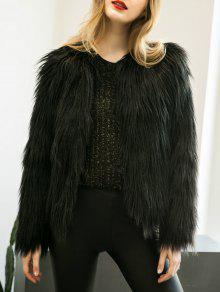 Fluffy Faux Fur Coat - Black 3xl