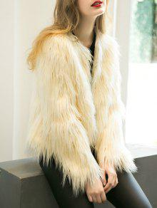 Fluffy Faux Fur Coat - Beige M
