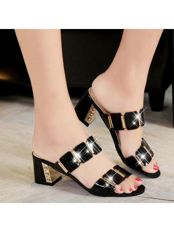f4222707e67 31% OFF  2019 Trendy Block Heel And Metal Design Slippers For Women ...