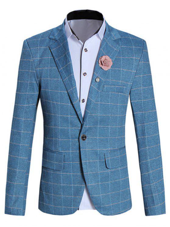 Modische Reverskragen Langarm-Karo-Blazer für Männer - Blau M