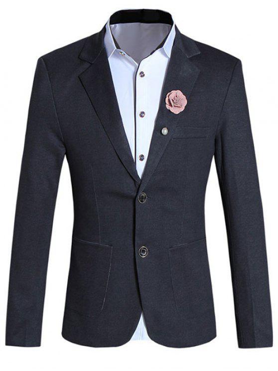 Kurze Art reine Farben-Revers-Kragen Langarm Slim Fit Blazer für Männer - Schwarz M