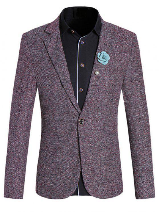 Chic Texture Design-Revers-Kragen langen Hülsen-Rot Melange Schlank Blazer für Männer - Dunkelrot L