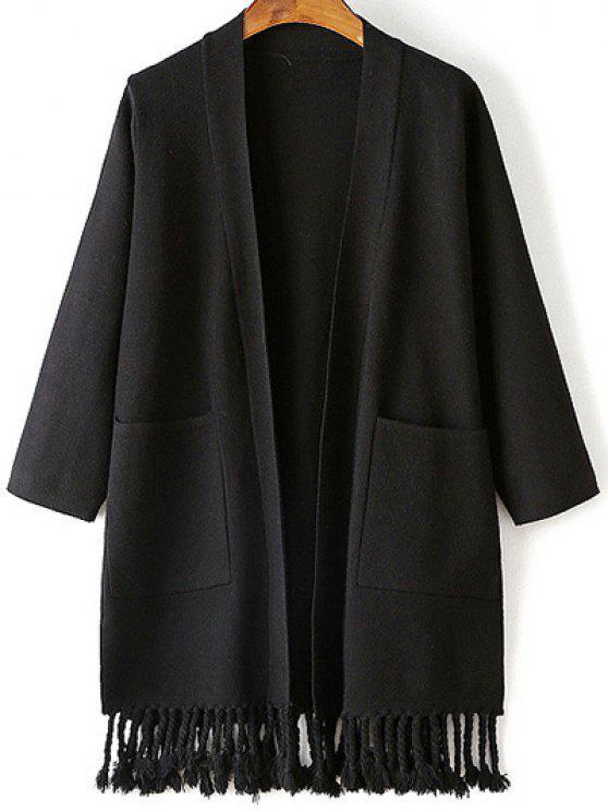 best Double Pocket Fringe Collarless 3/4 Sleeve Cardigan - BLACK ONE SIZE