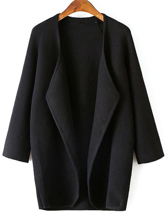 outfit Solid Color Collarless 3/4 Sleeve Cardigan - BLACK ONE SIZE