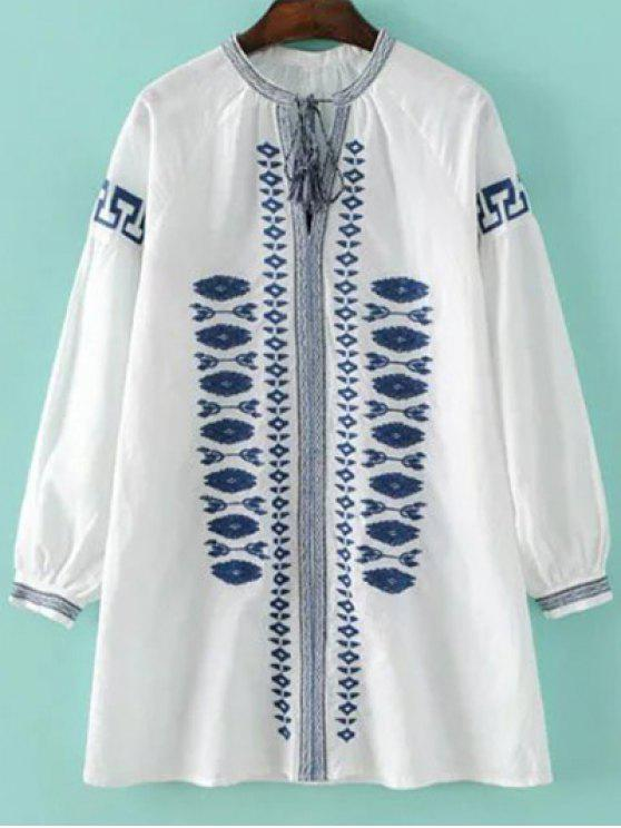 sale Round Neck Embroidered Long Sleeve Dress - WHITE S