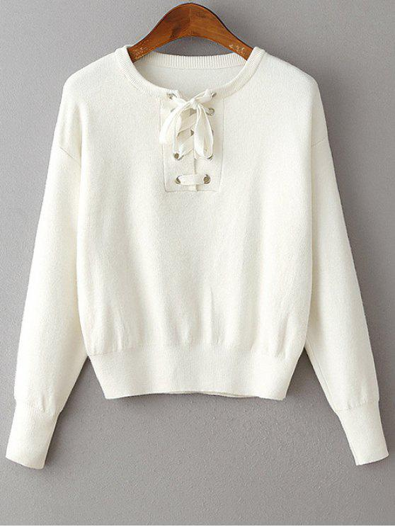outfits Lace-Up Round Neck Long Sleeve Sweater - WHITE ONE SIZE