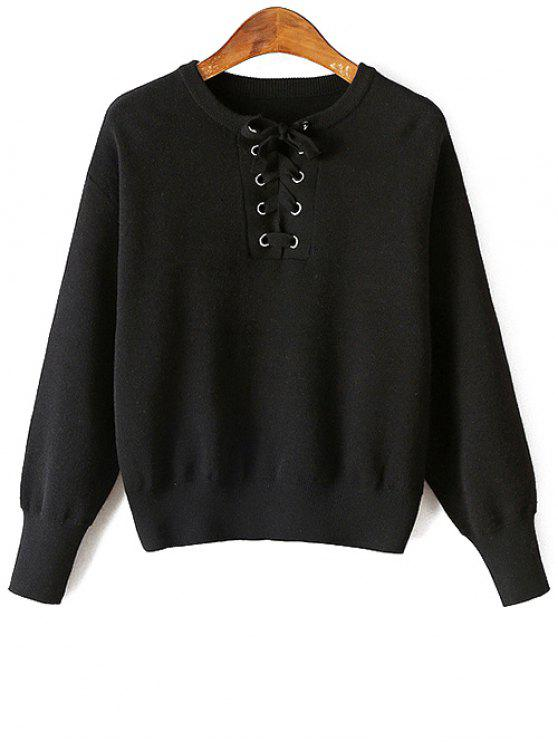 shop Lace-Up Round Neck Long Sleeve Sweater - BLACK ONE SIZE