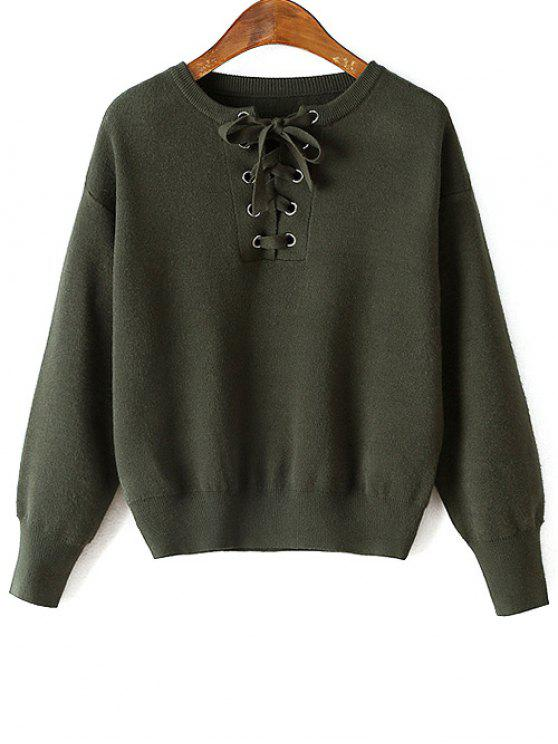 shops Lace-Up Round Neck Long Sleeve Sweater - GREEN ONE SIZE