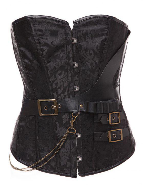 women Lace Up Belt Paisley Corset With T-Back - BLACK XL