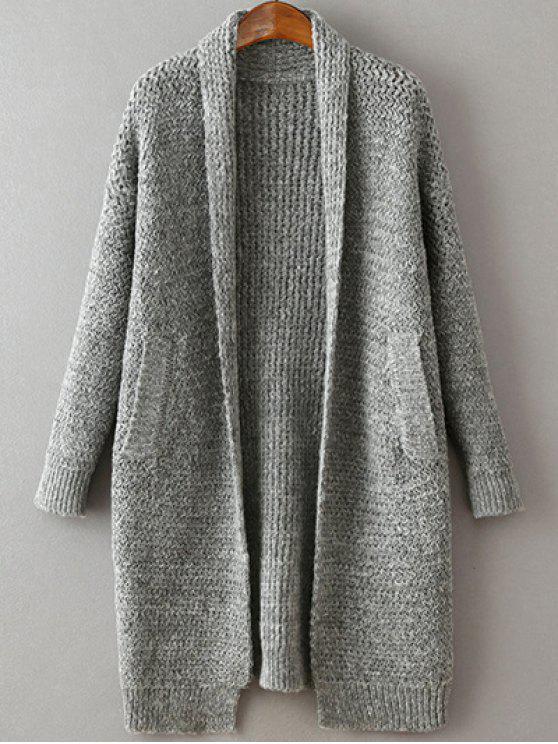 Bolsillos color sólido sin cuello manga larga Cardigan - Gris Única Talla