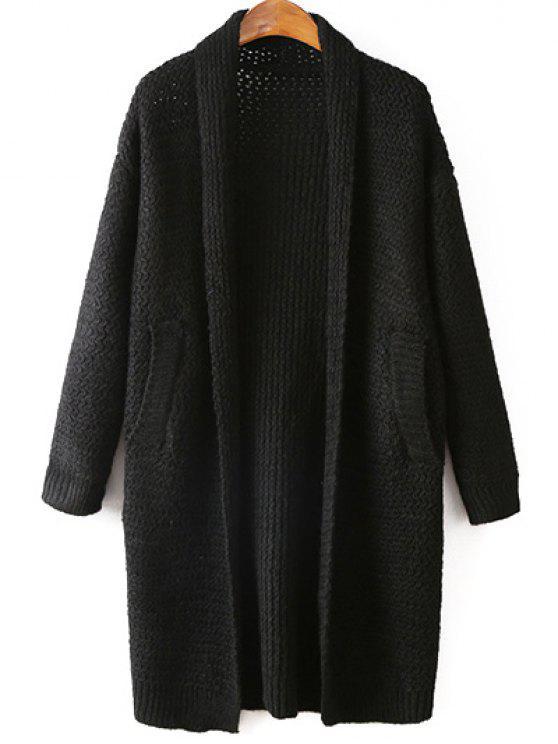 Bolsillos color sólido sin cuello manga larga Cardigan - Negro Única Talla
