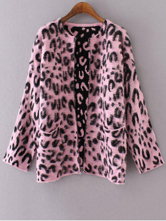 sale Long Sleeve Pockets Leopard Pattern Cardigan - PINK ONE SIZE