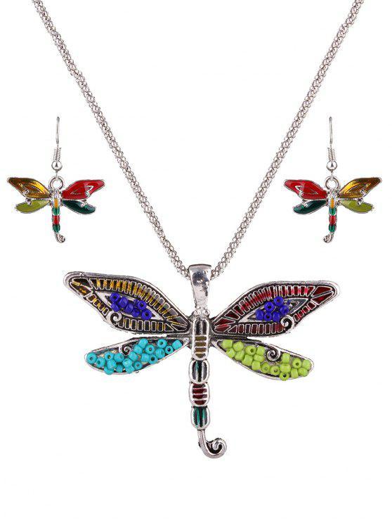 Granos multicolores del collar de la libélula - Plata