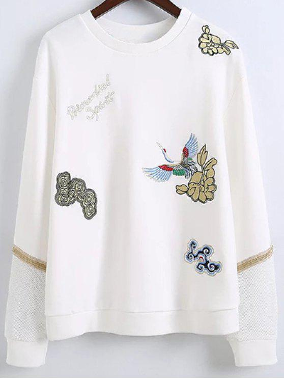 online Embroidered Round Neck Long Sleeve Sweatshirt - WHITE L