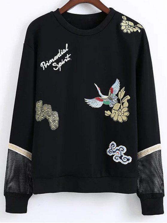 shop Embroidered Round Neck Long Sleeve Sweatshirt - BLACK S
