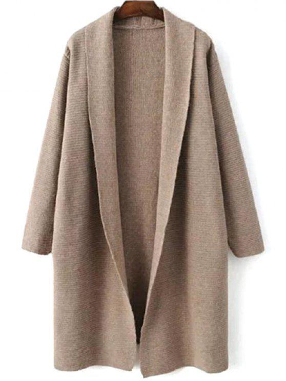 womens Loose Fitting Turn-Down Collar Long Sleeve Cardigan - LIGHT KHAKI ONE SIZE