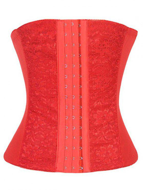 online Lacework Spliced Waist Training Corset - RED L