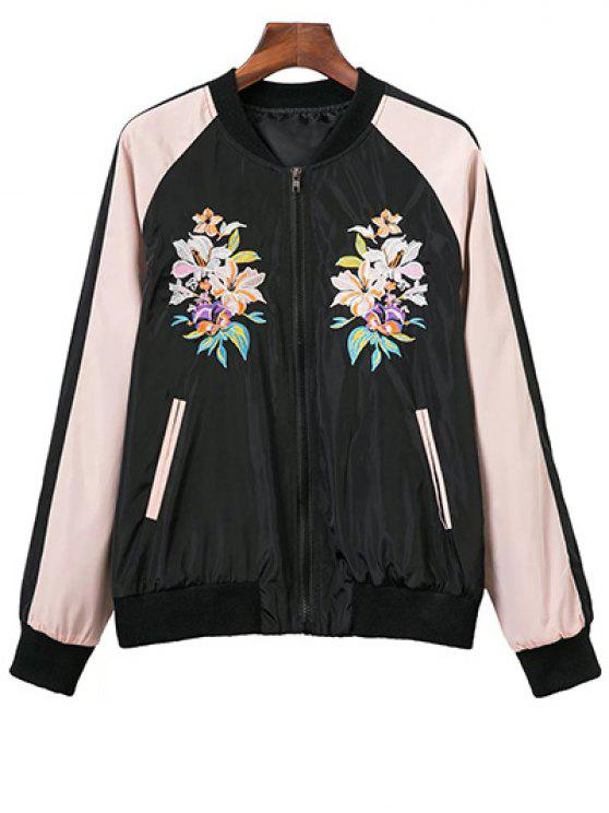 fashion Raglan Sleeve Flower Embroidered Bomber Jacket - BLACK L