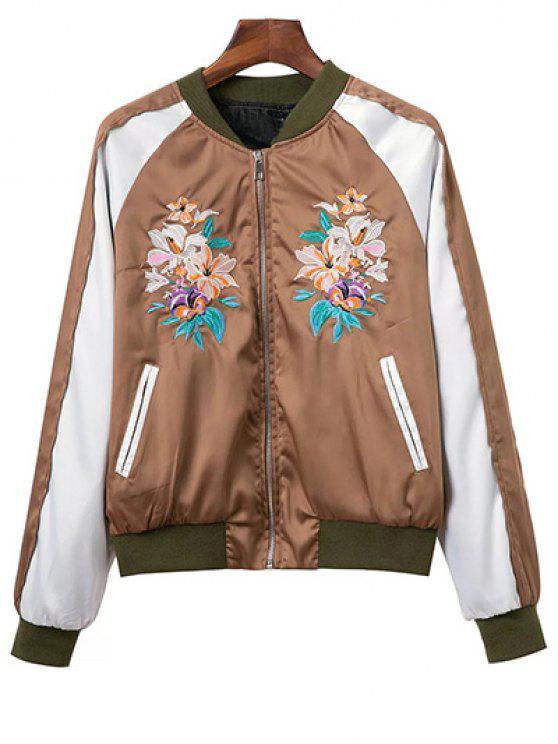 unique Color Block Floral Embroidered Stand Neck Jacket - DARK KHAKI L