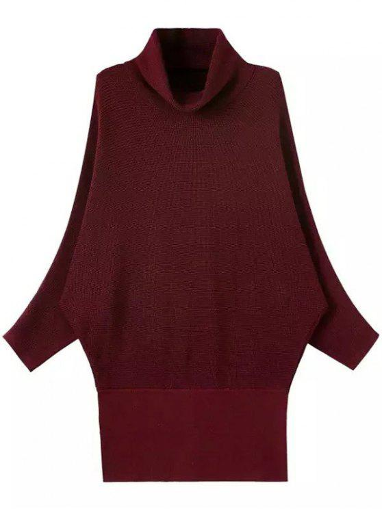 affordable Solid Color Turtle Neck Batwing Sleeve Sweater - WINE RED ONE SIZE