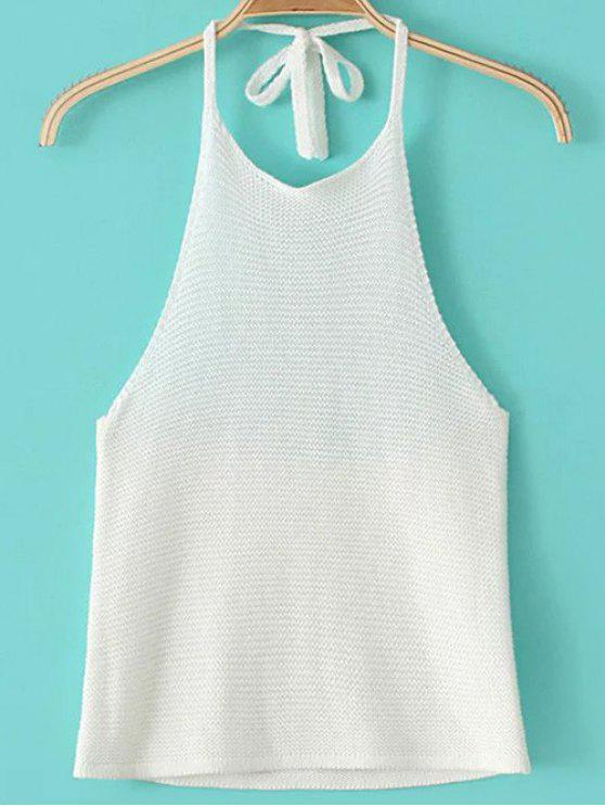 2018 Knit Halter Top In WHITE ONE SIZE | ZAFUL