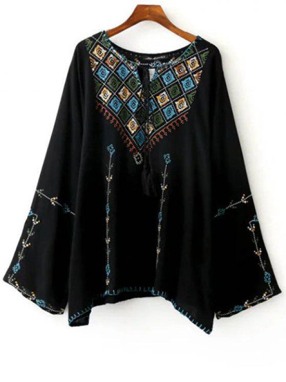 Bordado cuello redondo de manga larga blusa - Negro L