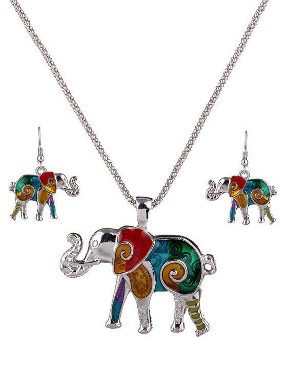 Émail Multicolor Elephant Collier Set - coloré