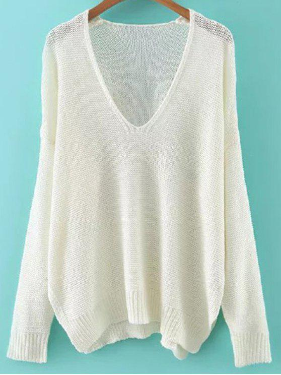 women's Loose High-Low V Neck Long Sleeve Sweater - WHITE M