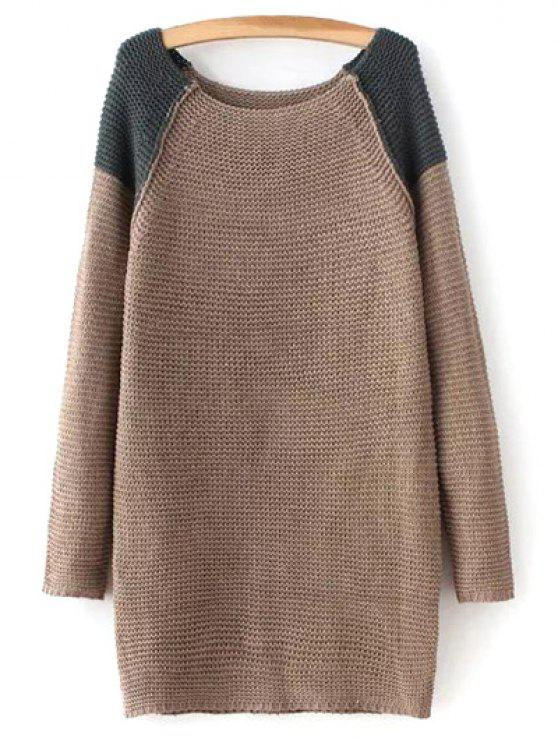 Raglan Sleeve Color Block Sweater - Brun Taille Unique