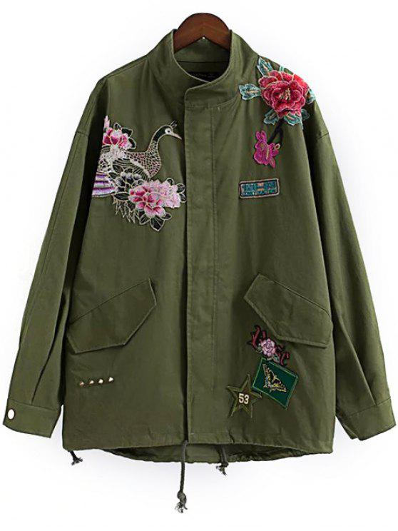 sale Floral Embroidered Utility Jacket - ARMY GREEN M