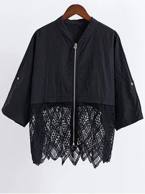 Los encajes de ganchillo flor del soporte del cuello de la blusa de la manga 3/4 - Negro Talla única