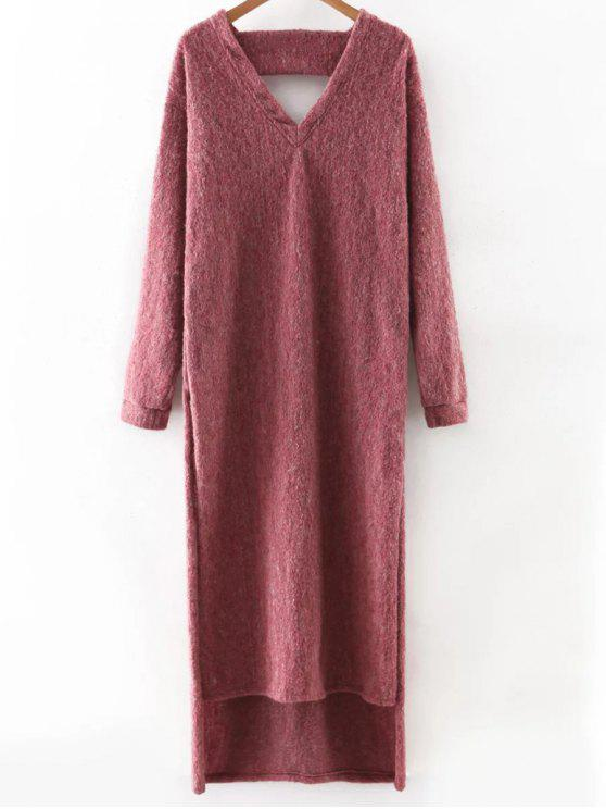womens Maxi Slit Sweater Dress - PURPLISH RED M