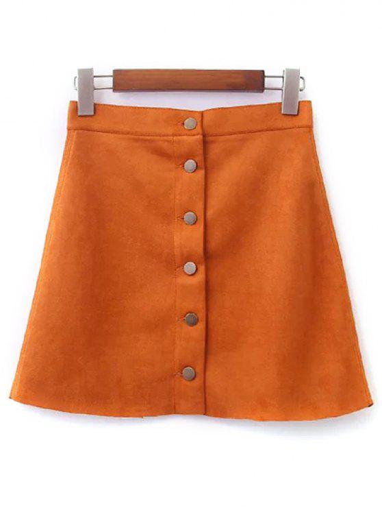 unique Faux Suede A-Line Skirt - EARTHY S