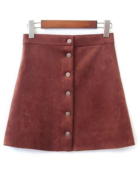 affordable Faux Suede A-Line Skirt - BROWN M
