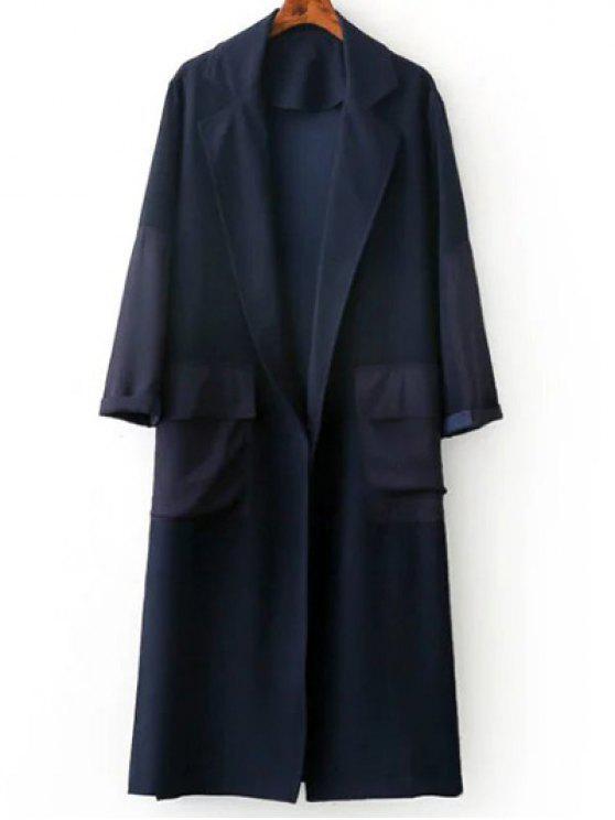 womens Side Slit Lapel Neck Long Sleeve Trench Coat - PURPLISH BLUE M
