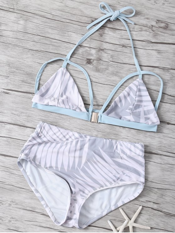 online Print High Waisted Strappy Bikini Set - LIGHT GRAY S