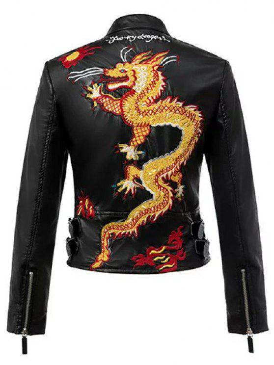 shop Dragon Embroidered Stand Collar Faux Leather Jacket - BLACK M