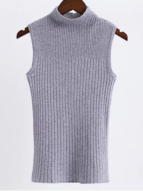 new Sleeveless High Neck Sweater - GRAY ONE SIZE