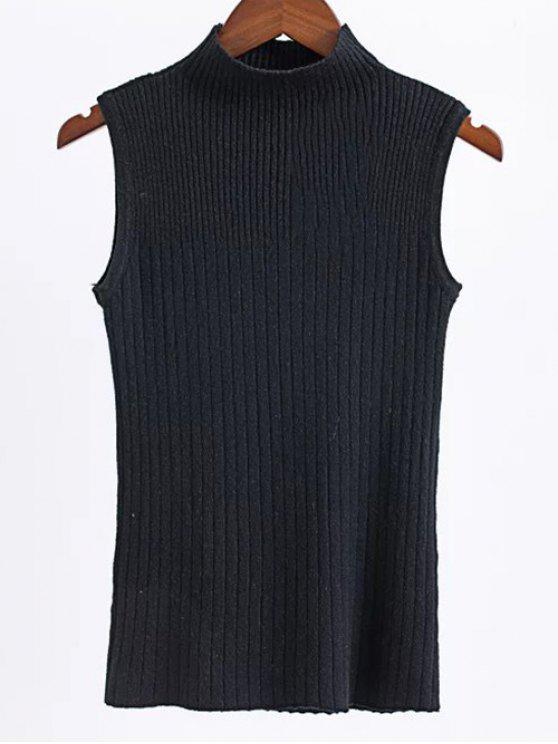 hot Sleeveless High Neck Sweater - BLACK ONE SIZE