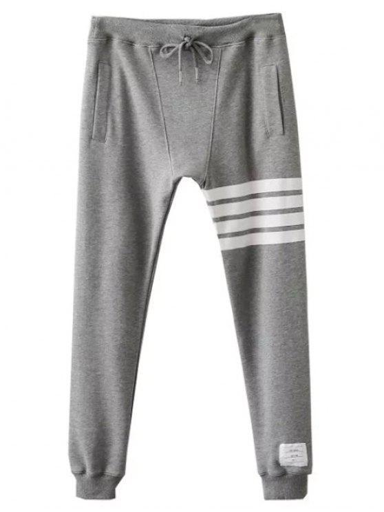 lady Striped Drawstring Active Pants - GRAY L