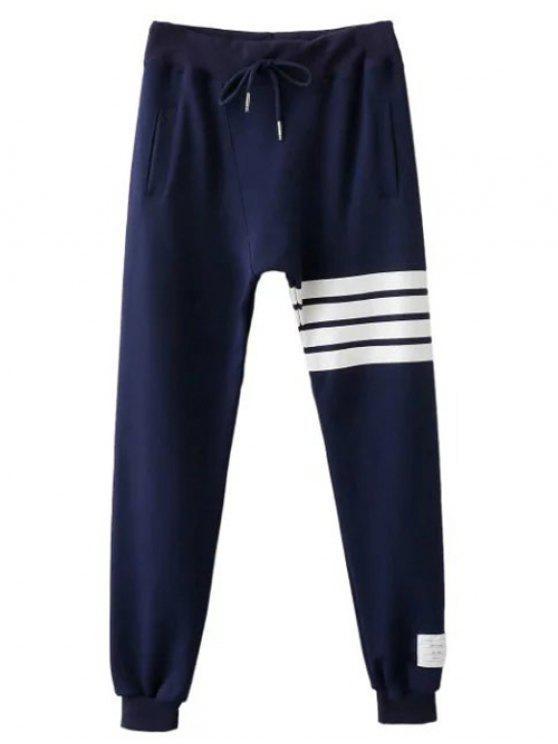 Drawstring Striped Active Pants - Bleu Violet L